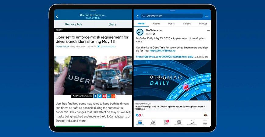Приложение Facebook для iPadOS дополнили поддержкой многозадачности Split View и Slide Over
