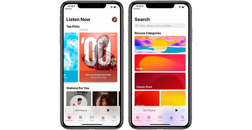 В новой iOS 14 Beta музыкальное приложение Apple Music получило анимированные обложки плейлистов