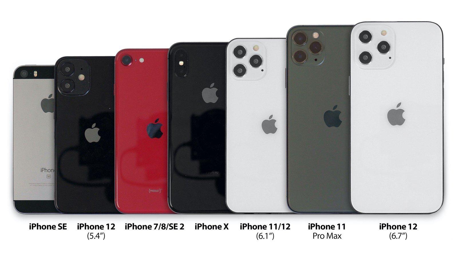 Сравнение iPhone 12 5.4 дюйма с размерами Apple iPhone SE, 7, 8, SE 2, X, 11, 11 Pro и 11 Pro Max