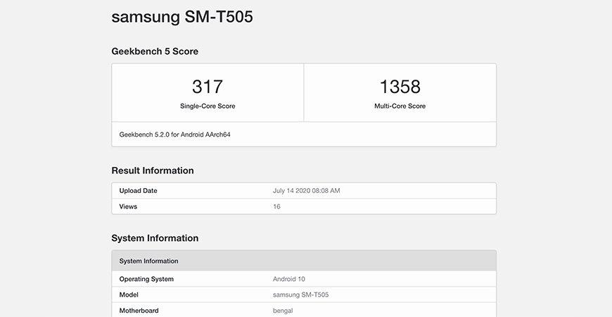 Samsung SM-T505 появился на Geekbench с чипсетом Snapdragon 662