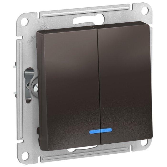 Выключатель 2х1-полюсный Schneider Electric AtlasDesign ATN000653,10А, коричневый