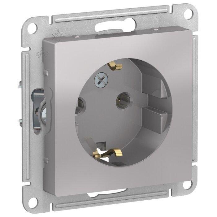 Розетка Schneider Electric AtlasDesign ATN000343,16А, с заземлением, алюминиевый