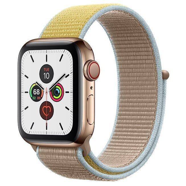 Часы Apple Watch Series 5 GPS + Cellular 44mm Stainless Steel Case with Sport Loop
