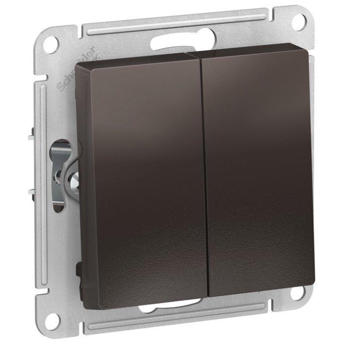 Выключатель 2х1-полюсный Schneider Electric AtlasDesign ATN000651,10А, коричневый