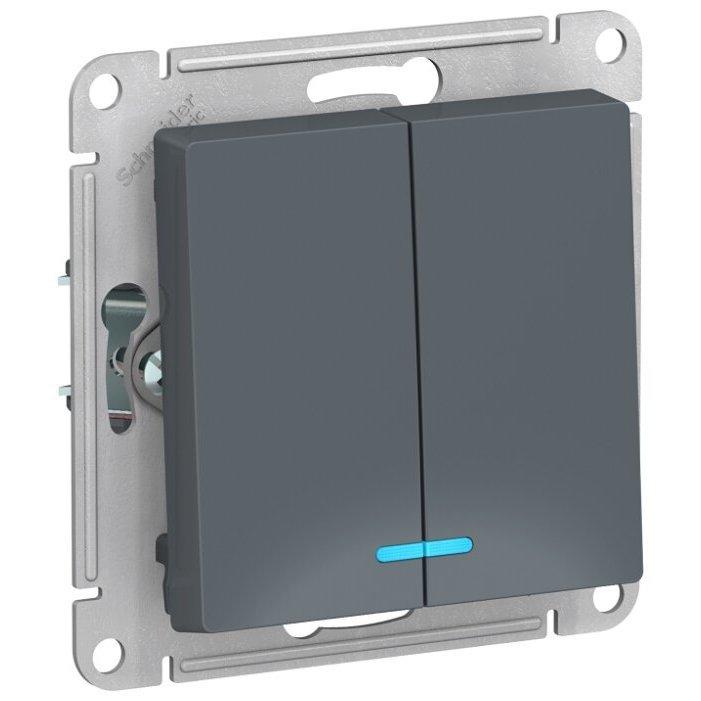 Выключатель 2х1-полюсный Schneider Electric AtlasDesign ATN000753,10А, серый
