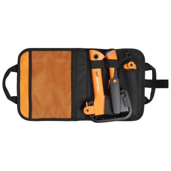 Туристичесий топор FISKARS Х5 + универсальный нож + садовая пила в сумке