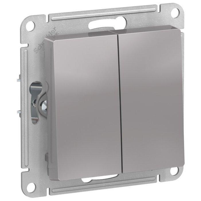 Выключатель 2х1-полюсный Schneider Electric AtlasDesign ATN000351,10А, алюминиевый