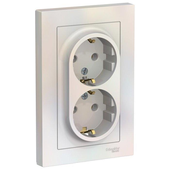 Розетка Schneider Electric AtlasDesign ATN000424,16А, с заземлением, жемчуг
