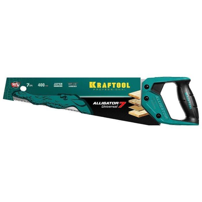 Ножовка по дереву Kraftool Alligator Universal 7 15004-40_z01 400 мм