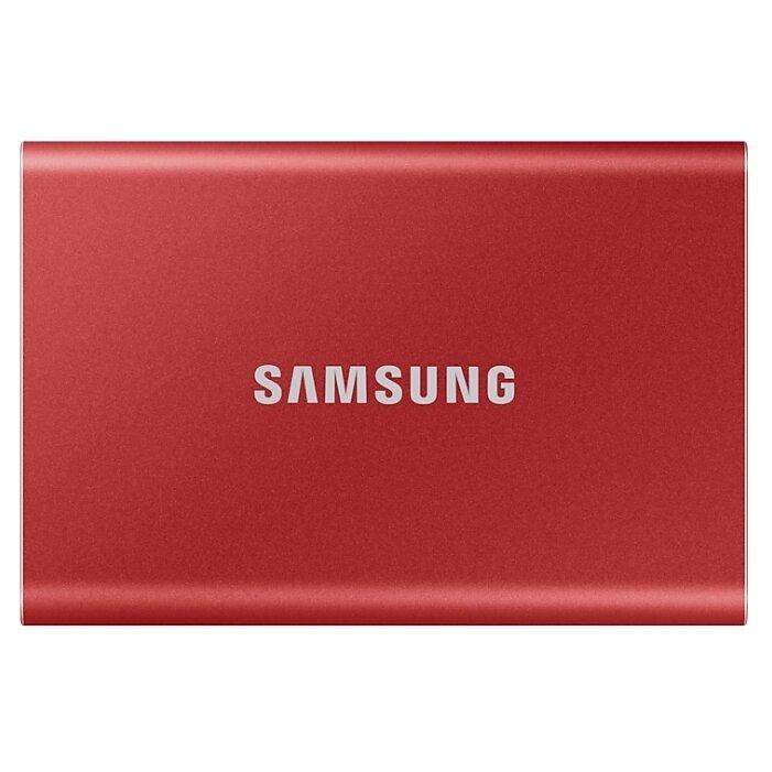 Портативный SSD Samsung T7, 500Gb, Metallic Red (MU-PC500R/WW)