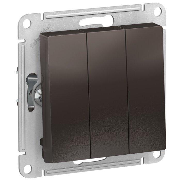Выключатель 3х1-полюсный Schneider Electric AtlasDesign ATN000631,10А, коричневый