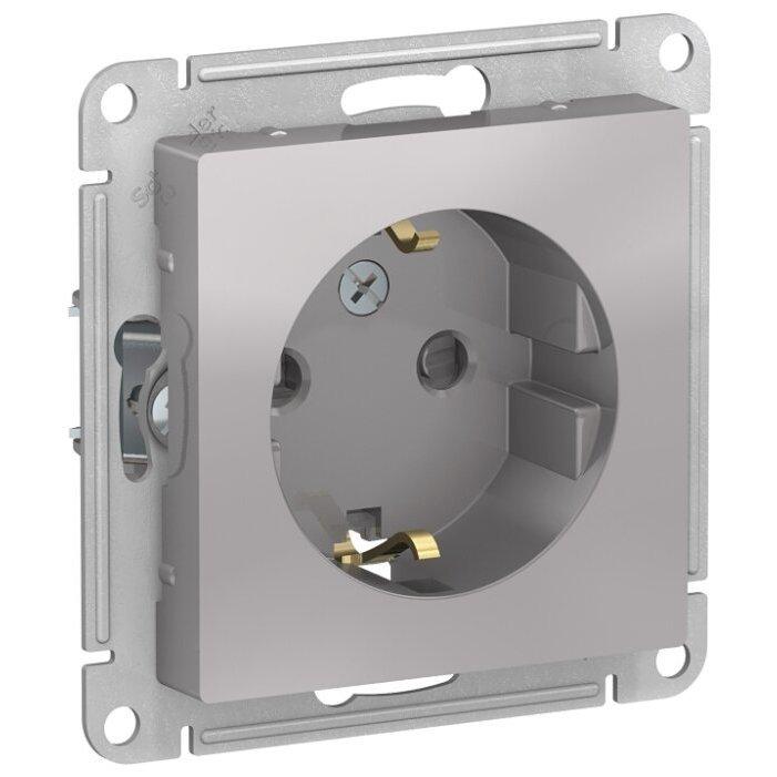 Розетка Schneider Electric AtlasDesign ATN000345,16А, с заземлением, алюминиевый