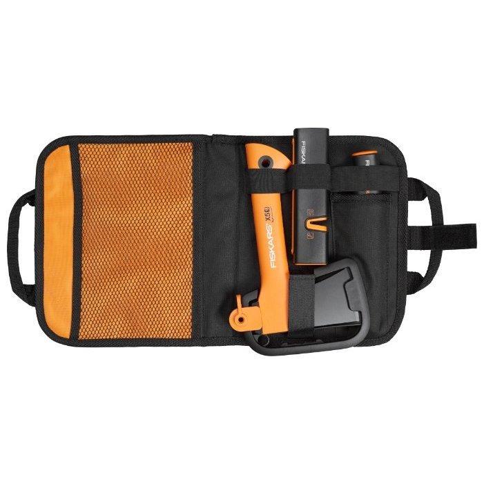 Туристичесий топор FISKARS Х5 + нож общего назначения + точилка в сумке