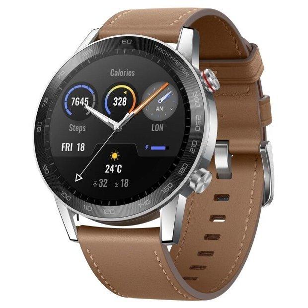 Часы Honor Watch Magic 2 46 мм (stainless steel, leather strap)